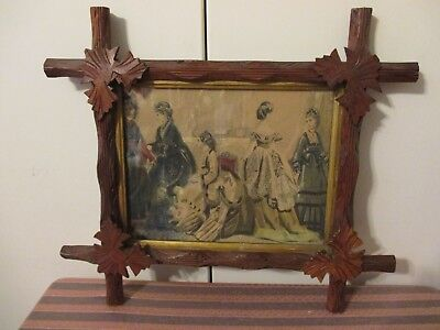 "Antique Carved Black Forest Wood Frame Oak Leaf Adirondack 15"" X 13"" W/ PICTURE"