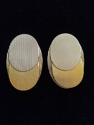 Vintage Modernist / Art Deco Style Oval Silvertone and Goldtone Clip Earrings