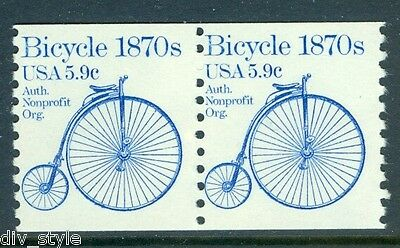 1870's Bicycle 5.9¢ mnh coil pair USA #1901 transportation series 1982