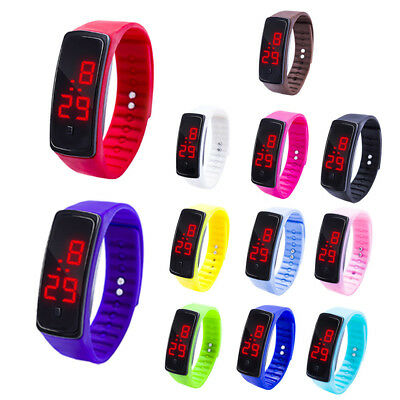 Kid Children Boy Girl Led Digital Display Bracelet Silicon Gel Sport Wrist Watch
