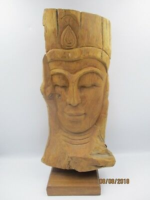 Early 20th Century Folk Art Wooden Handcarved Bust