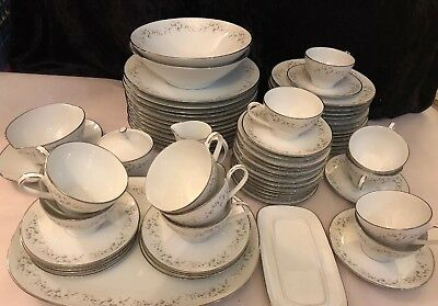 NORITAKE china ANNABELLE 6856 68 Piece SET SERVICE for 12 dinner salad bread