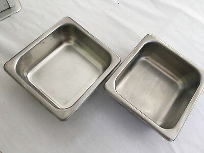 """Stainless Steel Steam Table Pan Lot - Two 1/6 x 2"""" Pans"""