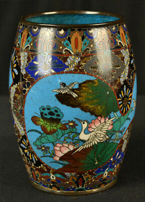 Antique Japanese Cloisonne Old Meiji Period Silver Wire Vase Birds Flowers As Is