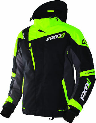 FXR Mens Black/Charcoal Grey/Lime Green Mission X Shell w/ Liner Snow Jacket