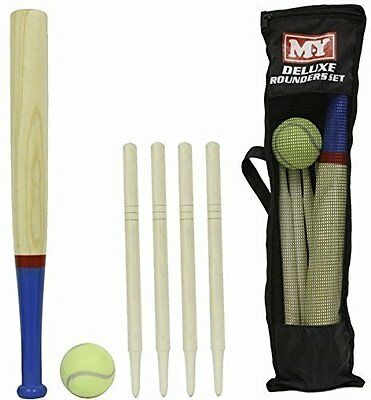 M.y Deluxe Rounders Set Wooden Bat  Ball & Stamps In Mesh Bag With Handtag