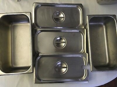 """Stainless Steel Steam Table Pan Lot - Two 1/4 x 4"""" + Three Lids"""