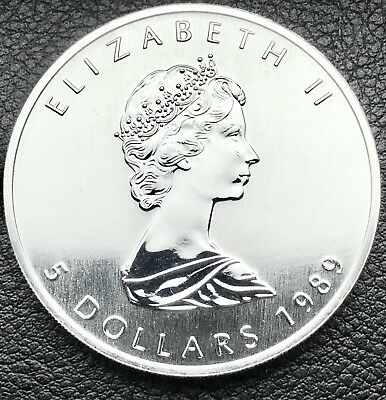1989 Canadian Maple Leaf 1 Troy oz .9999 Silver Coin Round Bullion (1052-1)