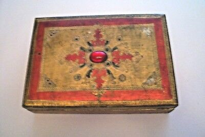 Vtg Tole Gold & Red Florentine Wood Trinket Chest Box  Italy