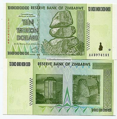 Zimbabwe 10 Trillion Dollars AA 2008 UNC Banknotes Part of $100 Trillion series