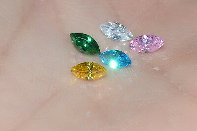 A Single 5 x 2.5, 6 x 3 or 8 x 4mm Multiple Colors MARQUISE Russian Sim Diamond