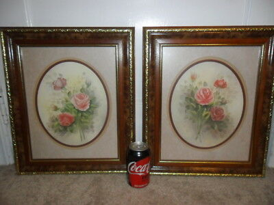 """Wyona Newton Pair Of Signed Bouquet Of Pink Roses Framed Art  17.5"""" X 14.5"""""""