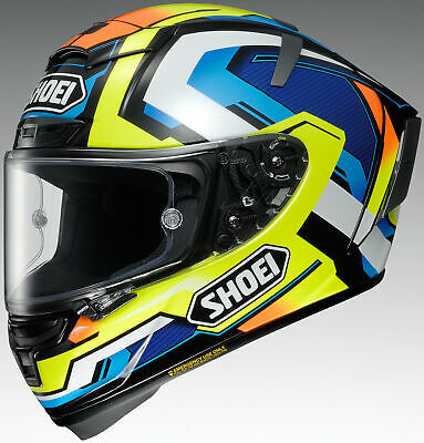 Shoei Hi-Viz Yellow/Blue/White X-Fourteen X14 Brink Full Face Motorcycle Helmet
