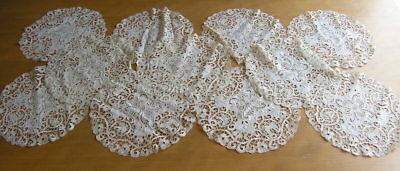 "Antique Ancient Linen Lace Embroidery Figural Round Doily 10+"" 11 Available"