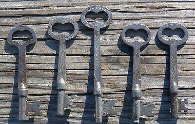 Five Flat Shaft  Antique Mortise Lock Skeleton Keys  Antique Door Keys