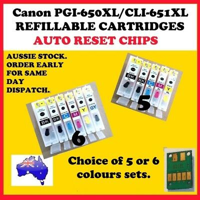 5 or 6 colours REFILLABLE Canon compatible PGI-650XL CLI-651XL cartridges.