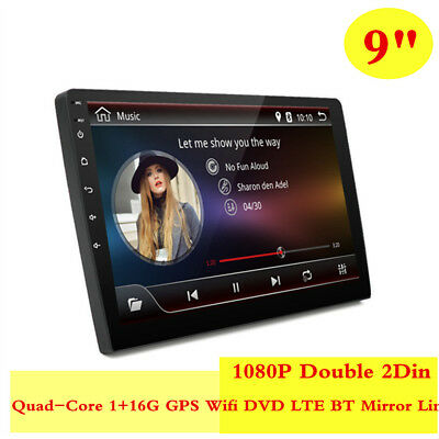 "9""1080P Double 2Din Touch Screen Quad-Core 1+16G GPS Wifi DVD LTE BT Mirror Link"