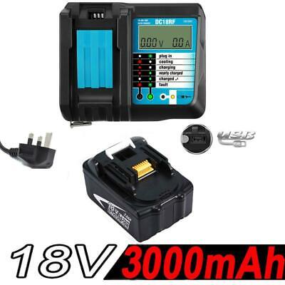 18V 3.0AH Battery for Makita BL1840 BL1830 BL1815 LXT400 Li-Ion+Rapid Charger