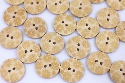 Flower Pattern Wooden Button Beige Two Holes Round Shaped Coat Jacket 20mm 20pcs
