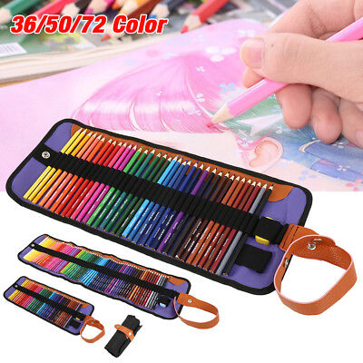 36/50/72 Colored Pencils Set Art Sketching Drawing Painting Portable Canvas Case