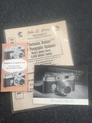 Argus camera manual, pamphlet and 100 page camera guide booklet