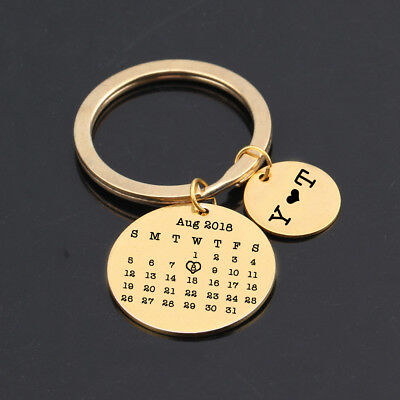 Gold Personalized Calendar Keychain Stamped Keyring Date Highlighted with heart