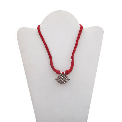Antique Old Silver Vintage Look Tribal Gypsy Handmade Ethnic Red Thread Necklace