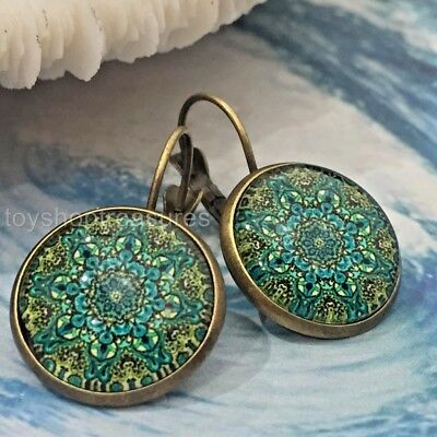 Vintage Style Green Moroccan Mandala Earrings - Antique Brass green L4