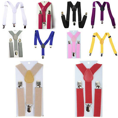 Unisex Kids Fashion Adjustable Clip-on Braces Bow Tie Elastic Y-back Suspenders