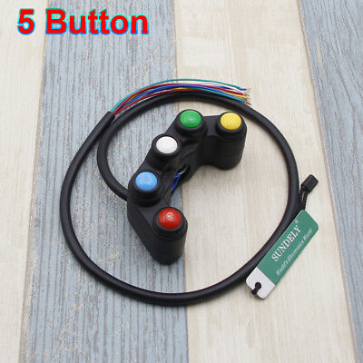 5 Buttons Motorcycle Race Bikes 22mm Handlebar Control Switches Assembly 12V
