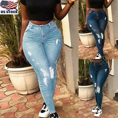 2018 Women Lady Denim Skinny Pants High Waist Stretch Jeans Slim Pencil Trousers