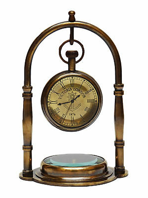 Antique Victoria London Brass Table Desk Clock With Brass Compass