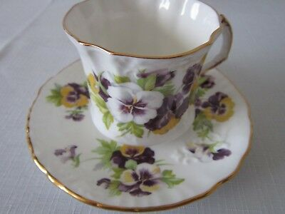 hammersley cup andsaucer white purple yellow pansies excellent condition