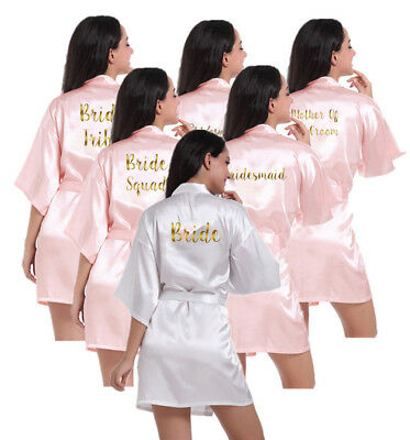 Satin Silk Personalized Wedding Bath Robe Bridesmaid Bride Trible Dressing Gown