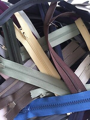 Job Lot Bag Of 50 New Zips, Mixed Colours & Sizes Between 5-9 Inches