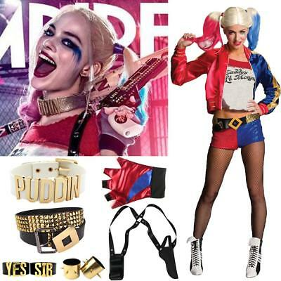 Suicide Squad Harley Quinn Cosplay Costume T-shirt Coat Jacket Halloween Party