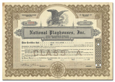 National Playhouses, Inc. Stock Certificate (Chicago Vaudeville Houses)