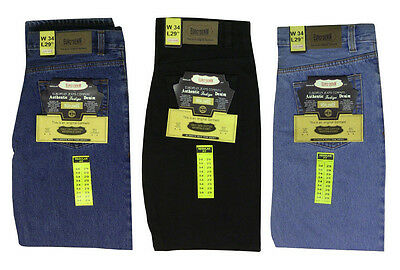 New Mens Straight Fit Denim Regular Black Heavy Duty Work Jeans Trousers Pants