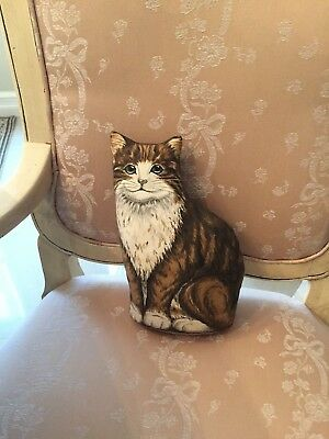 Vintage  Cat Kitty Fabric Door Stopper Brown Tabby - Adorable!
