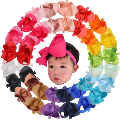 20Pcs 6 inch Bowd Baby Girls Headbands Grosgrain Ribbon Big Hair Bows for Infant
