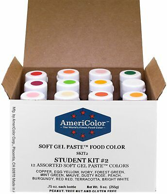 FOOD COLORING AMERICOLOR Student - Kit 2 12 .75 Ounce Bottles Soft ...