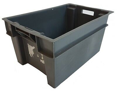 Large Heavy Duty Industrial Plastic Storage Crate Box Container Grey Used