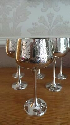Set Of 6 Silver Plated Goblets
