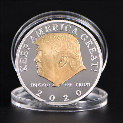 US President Donald Trump 2020 Silver&Gold Plated Challenge Coin Non-currency#*