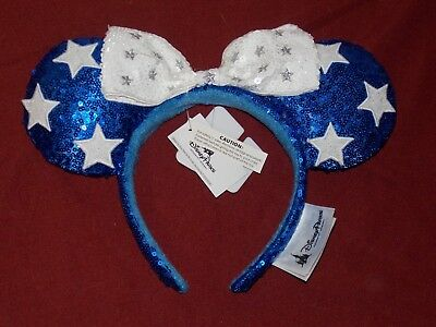 Disney Parks Minnie Mouse Patriotic Blue White Silver Stars Sequin Ear Headband