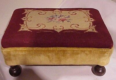 Antique Burgundy Needlepoint And Gold Velvet Low Profile Footstool