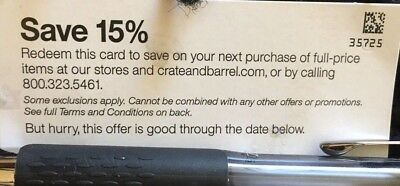 Crate and & Barrel 15% off entire Orders Coupon(include Furnitures)