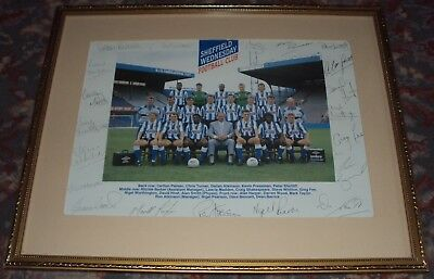 Framed Sheffield Wednesday Team Photo Handsigned/Autographed 1989-1990 Season