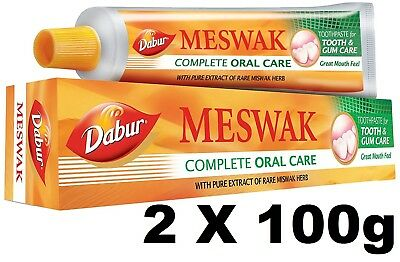 2 X 100g Dabur Meswak Toothpaste Natural Strengthens Teeth Gums Prevents Decay