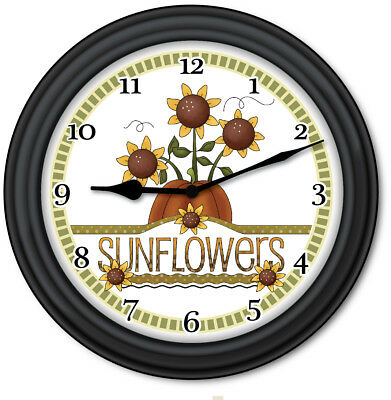 Sunflower Wall Clock   Primitive Country Home Decor Kitchen Cottage   GREAT  GIFT